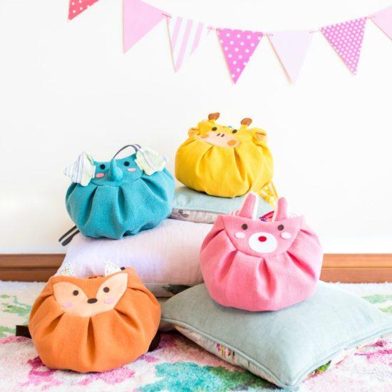 Group of animal mochi bag front