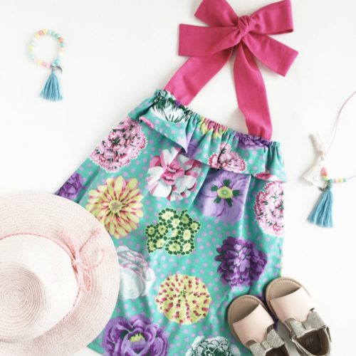 Pink Tropical Flowers Bianca Dress with hat and shoes