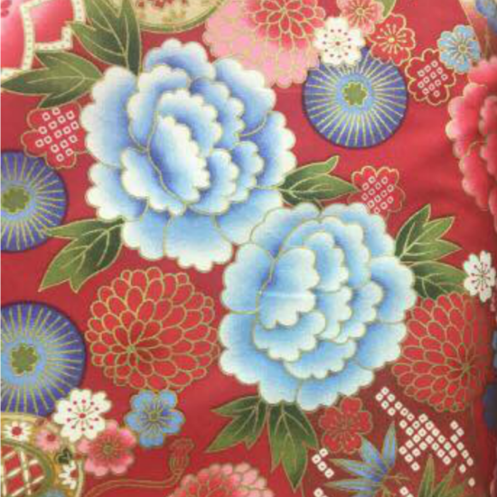 floral red fabric for custom children's cheongsam