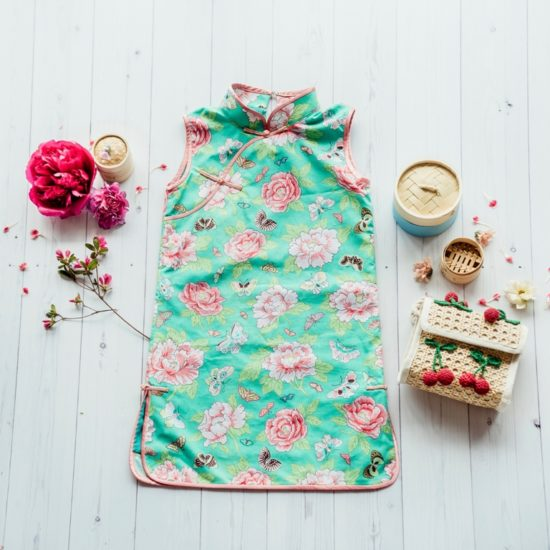 green and pink floral cheongsam