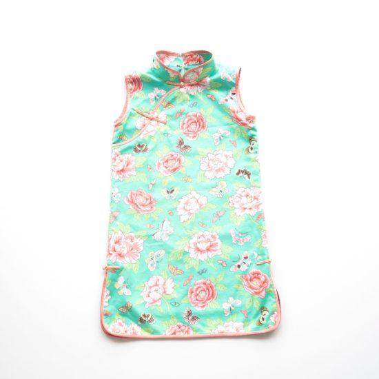 pink floral print cheongsam