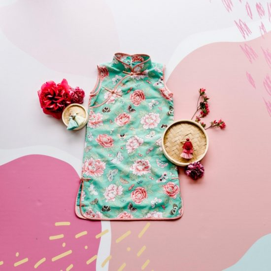 girls floral sleeveless cheongsam