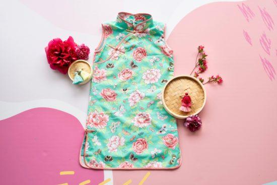 green and pink peony cheongsam