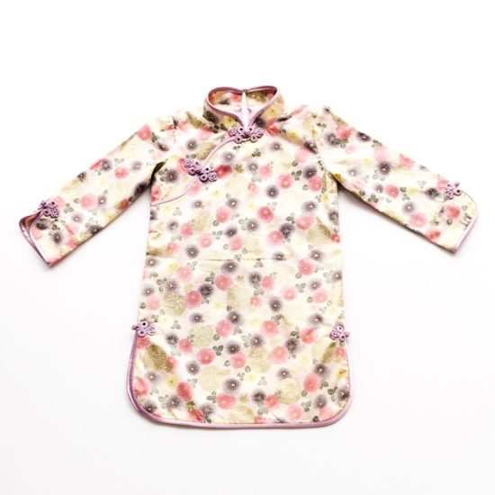 Long sleeve floral girls cheongsam