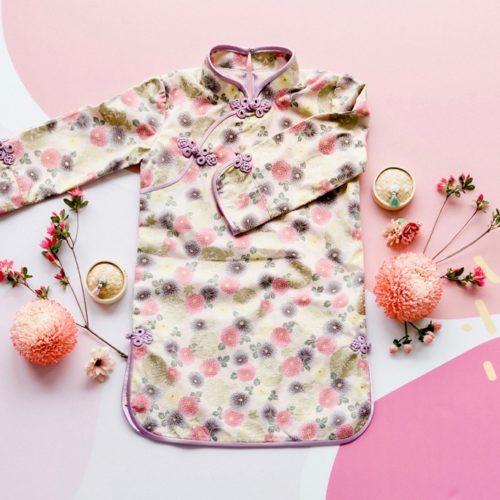 Pink floral long sleeve cheongsam