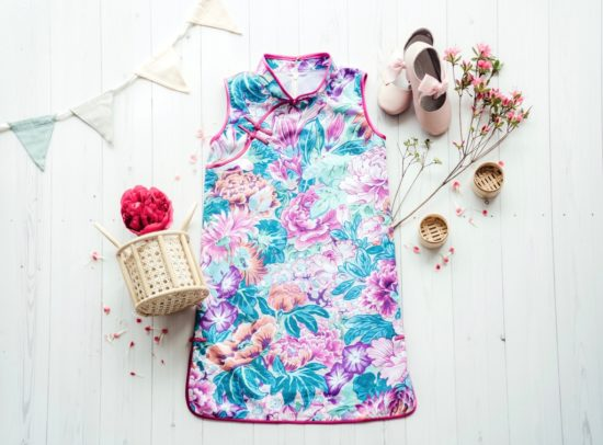 floral girls sleeveless cheongsam