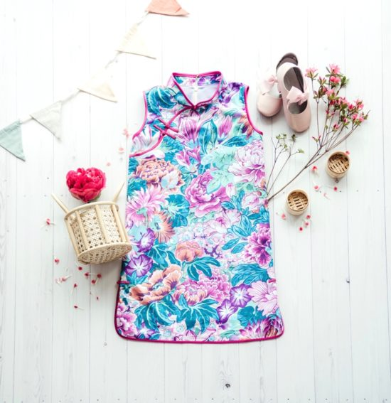 kids sleeveless floral cheongsam