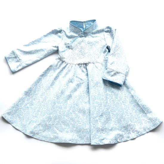 Blue brocade kid cheongsam