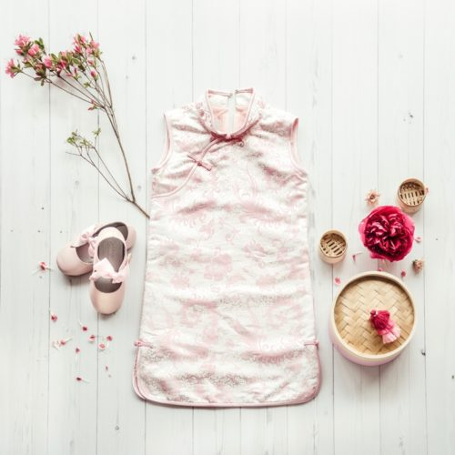 pink flower print cheongsam