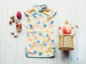 yellow and blue floral kids cheongsam