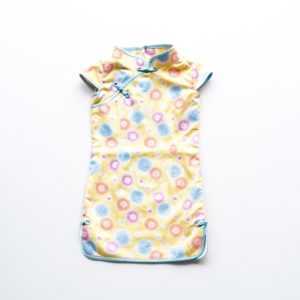 yellow and blue child's floral cheongsam