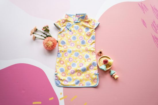 yellow and blue floral cheongsam
