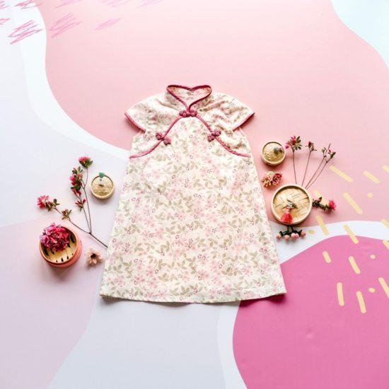 floral pink girls cheongsam