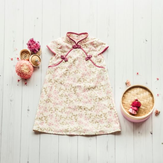 kid's pink floral cheongsam