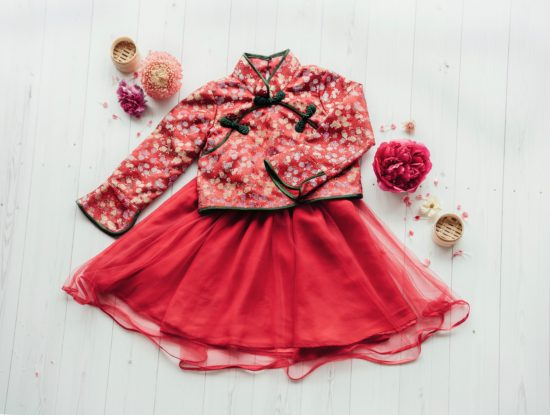 long sleeve cheongsam red classic