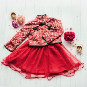 red long sleeve girls cheongsam
