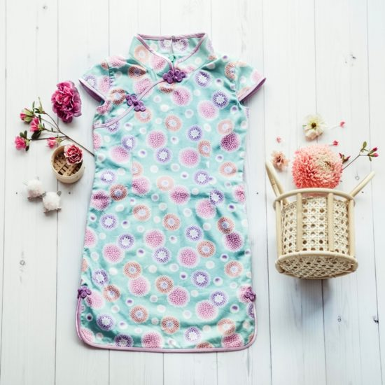 Blue pink floral cheongsam