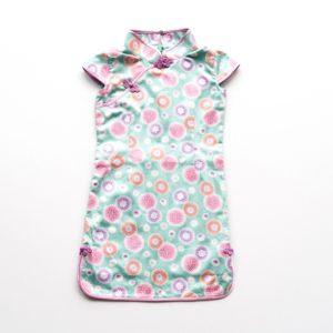 Blue pink floral short sleeve cheongsam